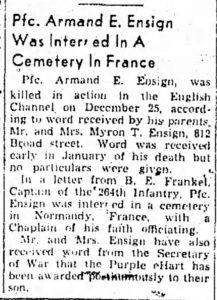 Ensign, Armand E. (OH); The_Chronicle_Telegram_Tue__Mar_6__1945_