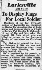 Makowski, Stanley E.; Wilkes_Barre_Times_Leader__the_Evening_News_Tue__Jan_16__1945_ - Flag Display