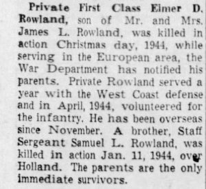 Rowland, Elmer D. (IN); The_Indianapolis_Star_Wed__Jan_17__1945_